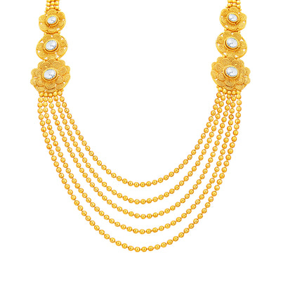 Sukkhi Intricately Crafted Five String Jalebi Gold Plated Necklace Set For Women-2