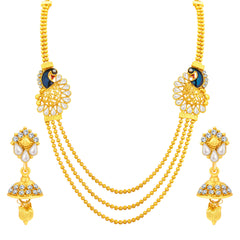 Sukkhi Exquisite Three String Peacock Gold Plated Necklace Set For Women