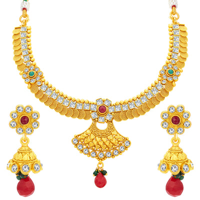 Sukkhi Pretty Jalebi Gold Plated American Diamond Necklace Set For Women