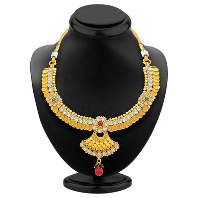 Sukkhi Pretty Jalebi Gold Plated American Diamond Necklace Set For Women-3