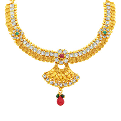 Sukkhi Pretty Jalebi Gold Plated American Diamond Necklace Set For Women-2