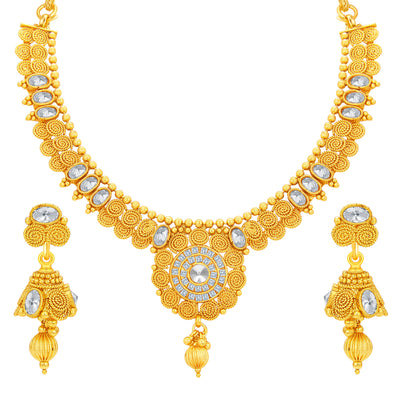 Sukkhi Ritzy Jalebi Gold Plated American Diamond Necklace Set For Women