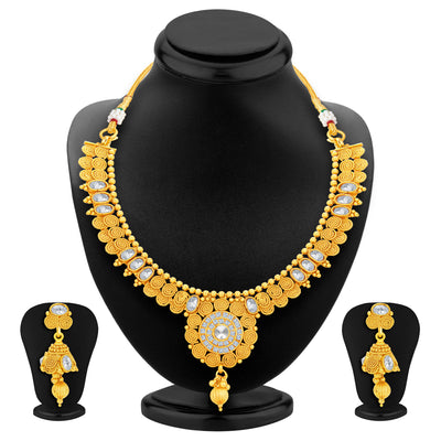 Sukkhi Ritzy Jalebi Gold Plated American Diamond Necklace Set For Women-1