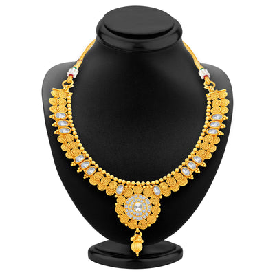 Sukkhi Ritzy Jalebi Gold Plated American Diamond Necklace Set For Women-3