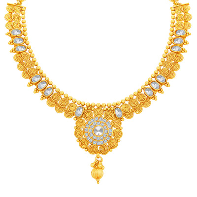 Sukkhi Ritzy Jalebi Gold Plated American Diamond Necklace Set For Women-2
