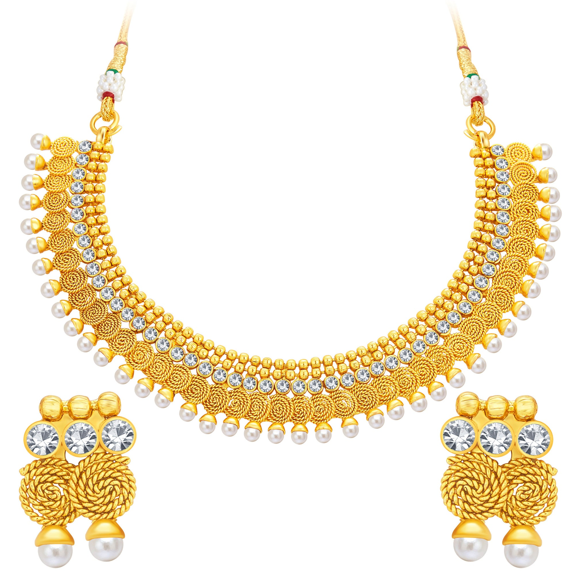 6464aebbd Sukkhi Attractive Jalebi Gold Plated American Diamond Necklace Set For Women