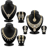 Sukkhi Glamorous Gold Plated AD Neckalce Sets Combo For Women