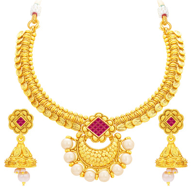 Sukkhi Ritzy Invisible Setting Gold Plated American Diamond Necklace Set For Women