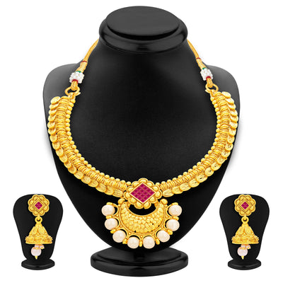 Sukkhi Ritzy Invisible Setting Gold Plated American Diamond Necklace Set For Women-1