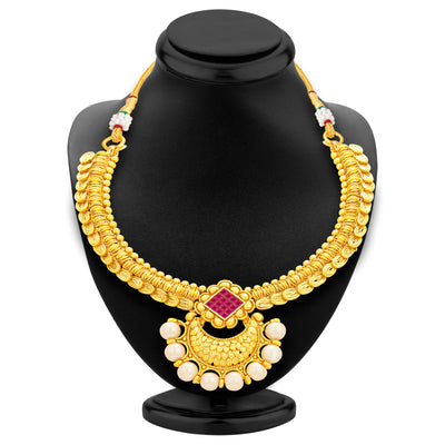 Sukkhi Ritzy Invisible Setting Gold Plated American Diamond Necklace Set For Women-3