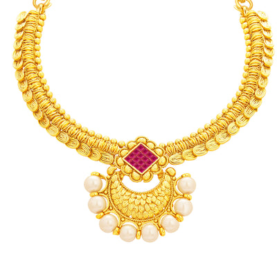 Sukkhi Ritzy Invisible Setting Gold Plated American Diamond Necklace Set For Women-2