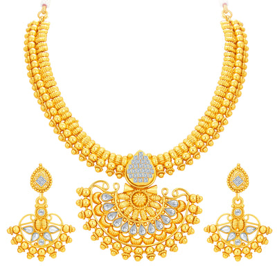 Sukkhi Dazzling Invisible Setting Gold Plated American Diamond Necklace Set For Women