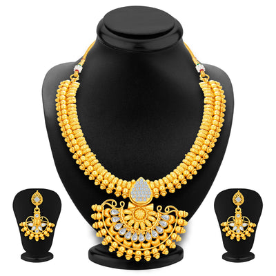 Sukkhi Dazzling Invisible Setting Gold Plated American Diamond Necklace Set For Women-1