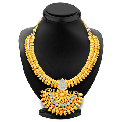 Sukkhi Dazzling Invisible Setting Gold Plated American Diamond Necklace Set For Women-3