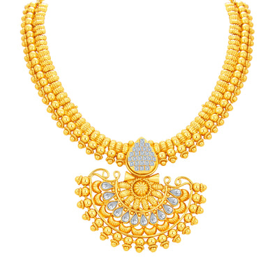 Sukkhi Dazzling Invisible Setting Gold Plated American Diamond Necklace Set For Women-2