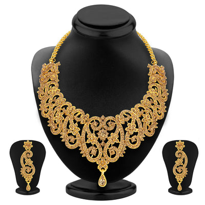 Sukkhi Gleaming LCT Stone Gold Plated AD Necklace Set For Women