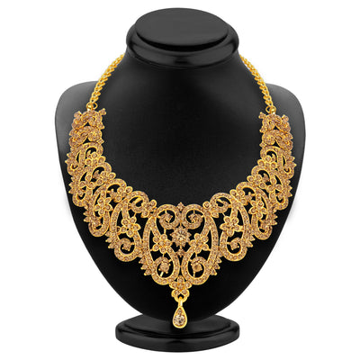 Sukkhi Gleaming LCT Stone Gold Plated AD Necklace Set For Women-2
