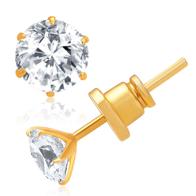 Pissara Glittery Gold and Rhodium Plated CZ Earrings For Women-1