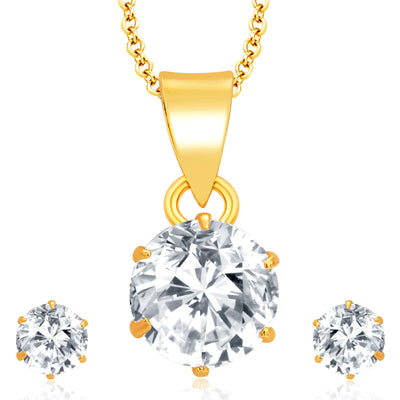 Pissara Graceful Gold Plated CZ Pendant Set For Women