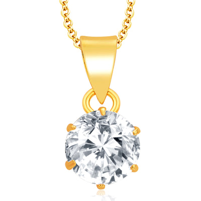 Pissara Graceful Gold Plated CZ Pendant Set For Women-1
