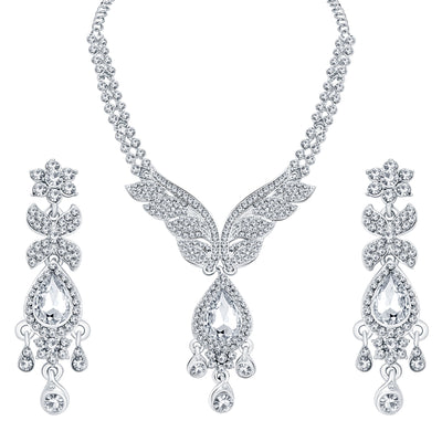 Sukkhi Finely Rhodium Plated AD Necklace Set For Women-1