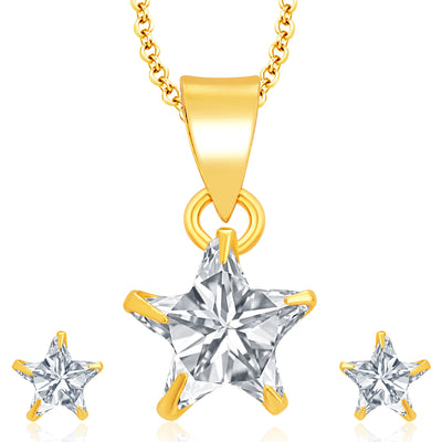 Pissara Glimmery Gold Plated CZ Pendant Set For Women