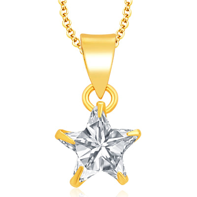Pissara Glimmery Gold Plated CZ Pendant Set For Women-1