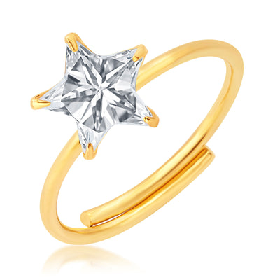Pissara Dazzling Gold Plated Solitaire Set of 4 Ladies Ring Combo For Women-2