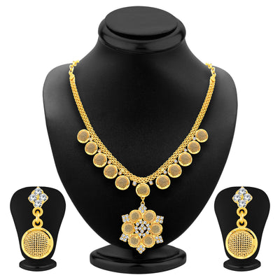 Sukkhi Artistically Gold Plated AD Necklace Set For Women-1