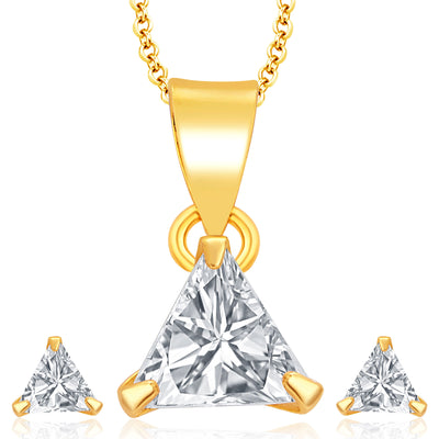 Pissara Pleasing Gold Plated CZ Pendant Set For Women