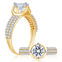 Sukkhi Delightful Gold and Rhodium Plated Cubic Zirconia Stone Studded Solitaire Ring