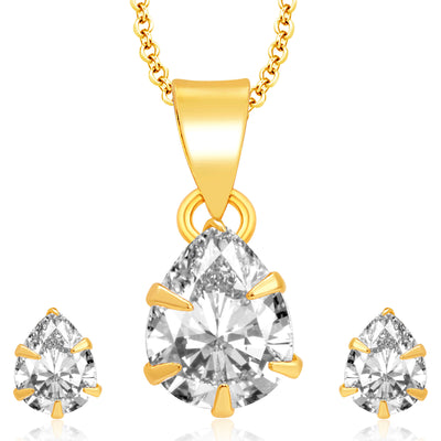 Pissara Delightful Gold Plated CZ Pendant Set For Women
