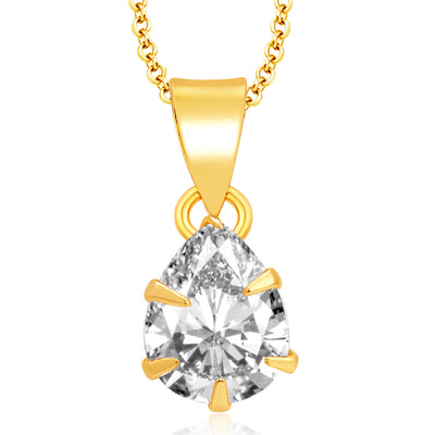 Pissara Delightful Gold Plated CZ Pendant Set For Women-1