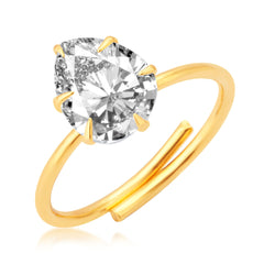 Pissara Modern Gold Plated CZ Ring For Women