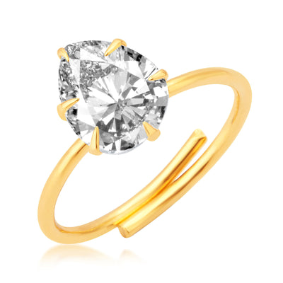 Pissara Dazzling Gold Plated Solitaire Set of 4 Ladies Ring Combo For Women-3
