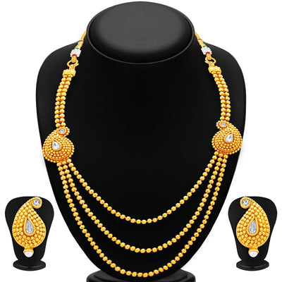 Sukkhi Fabulous Three String Gold Plated Necklace Set For Women-1