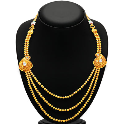 Sukkhi Fabulous Three String Gold Plated Necklace Set For Women-3