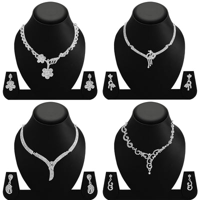 Sukkhi Amazing Rhodium Plated AD Set 0f 4 Necklace Set Combo For Women