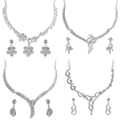 Sukkhi Amazing Rhodium Plated AD Set 0f 4 Necklace Set Combo For Women-1
