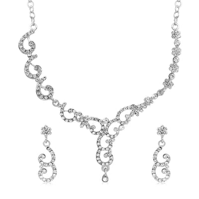 Sukkhi Amazing Rhodium Plated AD Set 0f 4 Necklace Set Combo For Women-3