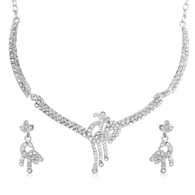 Sukkhi Amazing Rhodium Plated AD Set 0f 4 Necklace Set Combo For Women-5
