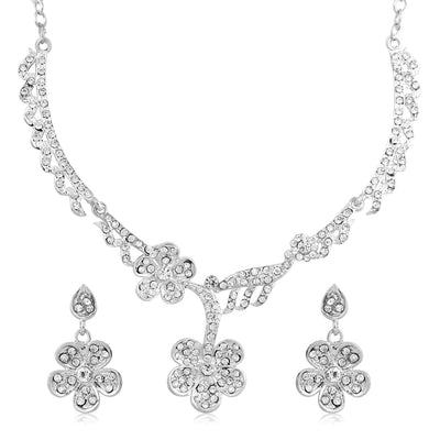 Sukkhi Amazing Rhodium Plated AD Set 0f 4 Necklace Set Combo For Women-7