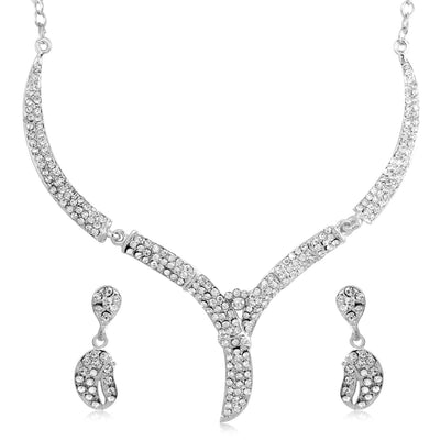 Sukkhi Amazing Rhodium Plated AD Set 0f 4 Necklace Set Combo For Women-9
