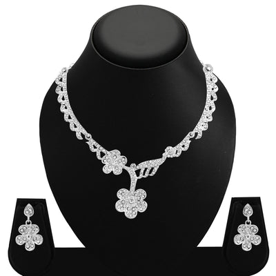 Sukkhi Amazing Rhodium Plated AD Set 0f 4 Necklace Set Combo For Women-6