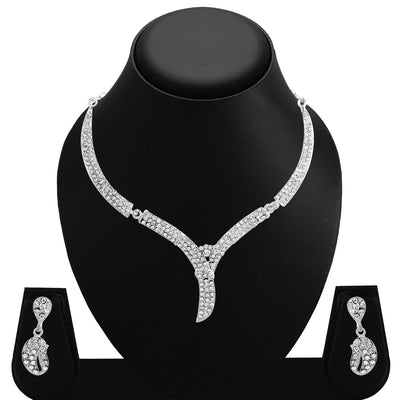 Sukkhi Amazing Rhodium Plated AD Set 0f 4 Necklace Set Combo For Women-8