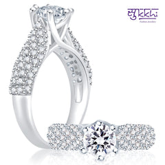 0256 Pissara Cluster Rhodium Plated CZ Ring