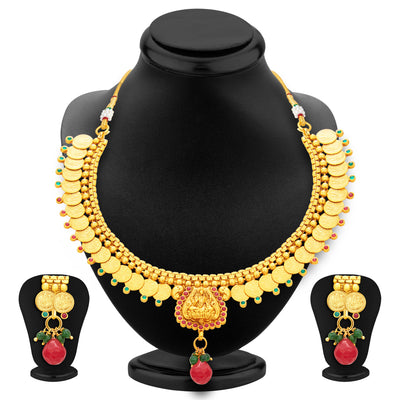 Sukkhi Exotic Laxmi Temple Coin Gold Plated Necklace Set For Women-1