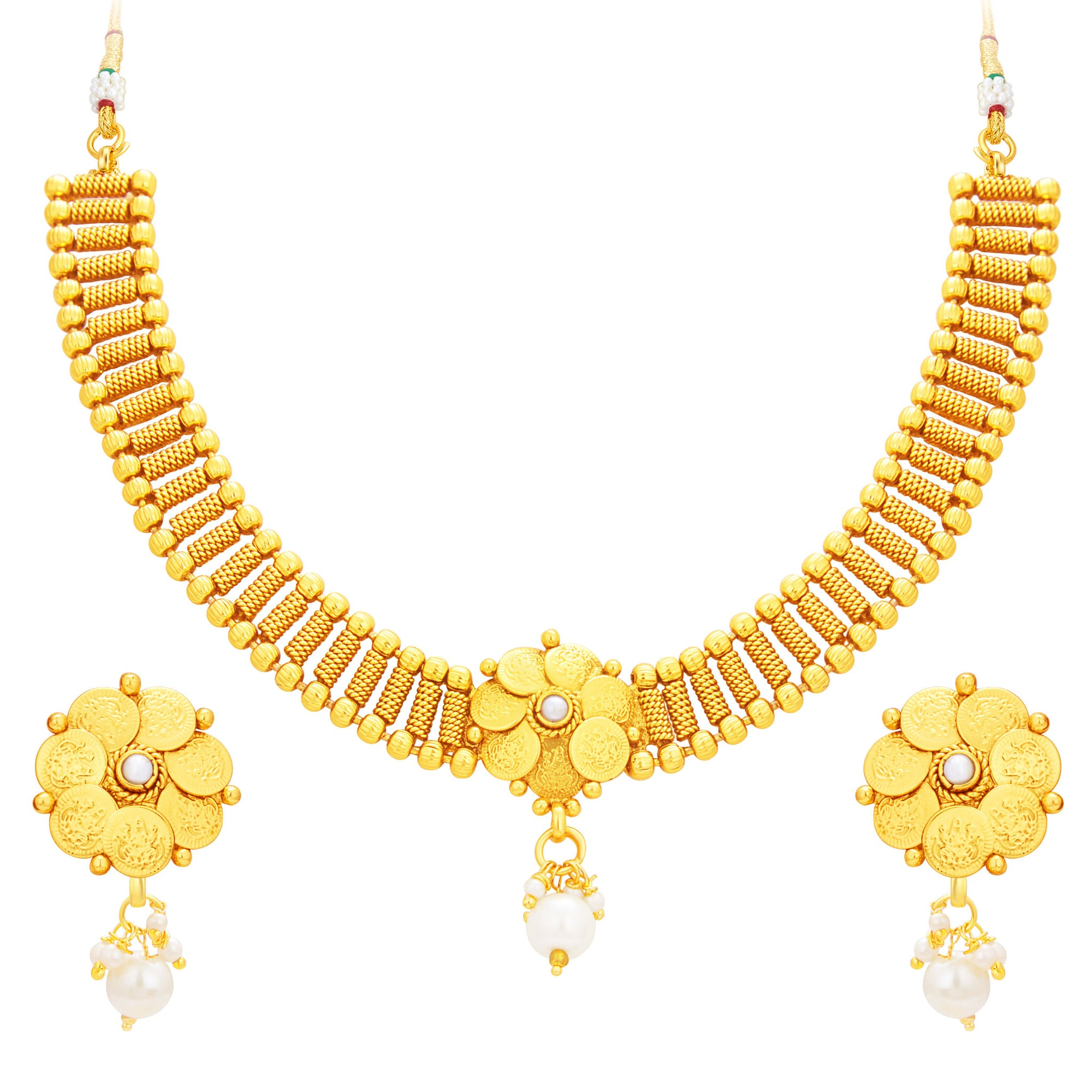2af5da7b0a Sukkhi Charming Laxmi Temple Coin Gold Plated Necklace Set For Women ...