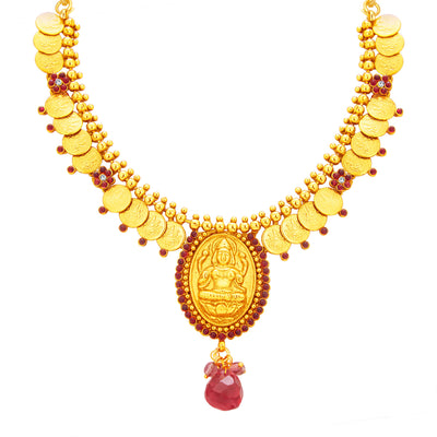 Sukkhi Appealing Laxmi Temple Coin Gold Plated Necklace Set For Women-2