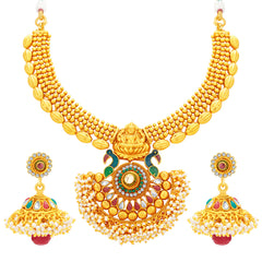 Sukkhi Incredible Laxmi Peacock Laxmi Temple Gold Plated Necklace Set For Women